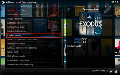 Exodus Addon for Kodi