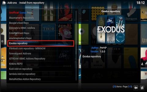Exodus Addon for Kodi