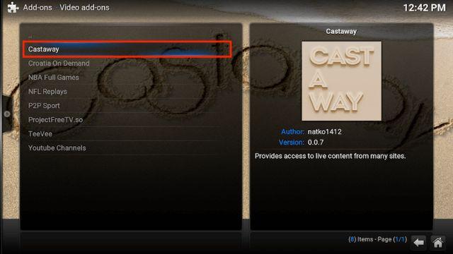 Select Castaway Kodi Addon
