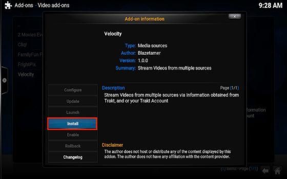 Install Velocity Kodi Addon