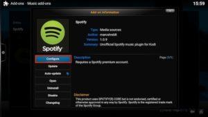 configure spotify addon