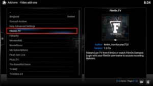 filmon tv video addons