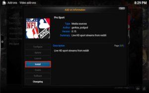 install kodi pro sport