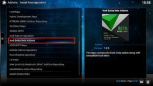 kodi emby repo option