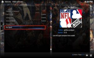 kodi pro sport option