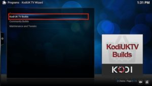 kodi uk builds option