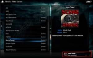 scenepeeper addon enabled