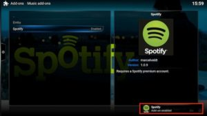 spotify addon enabled