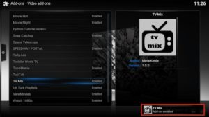 tv mix addon enabled