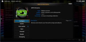 mp3 streams configure