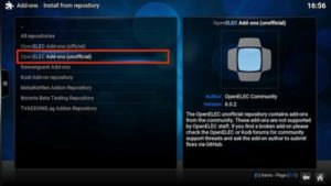openelec addon option